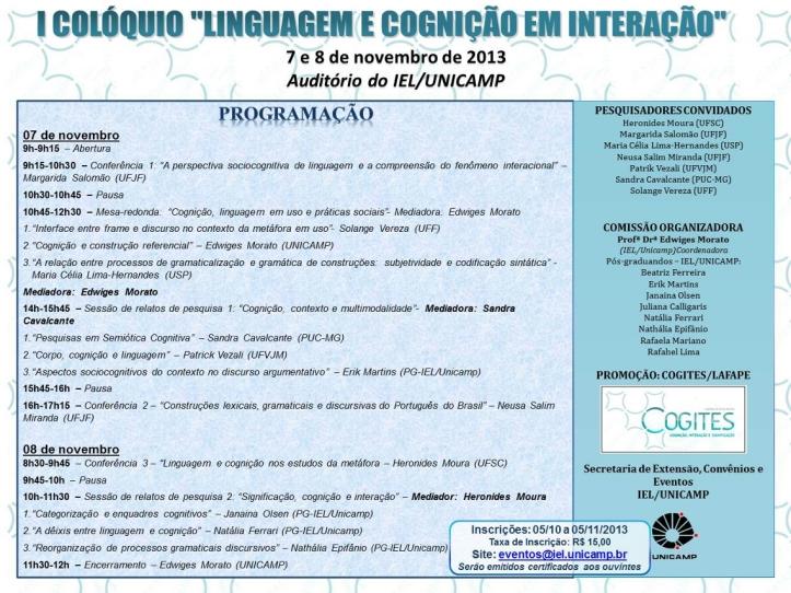 Colóquio Linguagem e Cognição na Unicamp, em SP